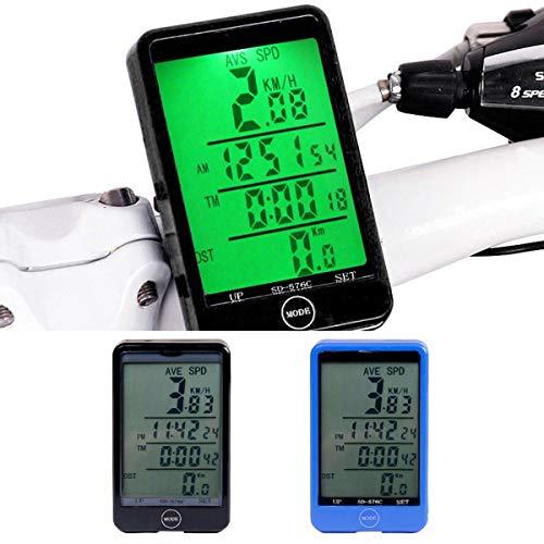 HaiQianXin Multifunción Pantalla Grande Retroiluminación Bicicleta inalámbrica Ordenador Odómetro Bicicleta Toque Velocímetro Cronómetro (Color : Black)
