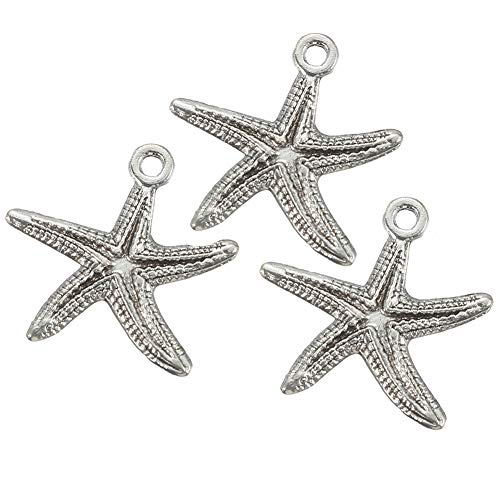 40pcs Antique Silver Starfish Charms Sea Star Charm Pendant for Necklace Bracelet DIY Jewelry Making Accessories 25mmx24mm(a-1297)