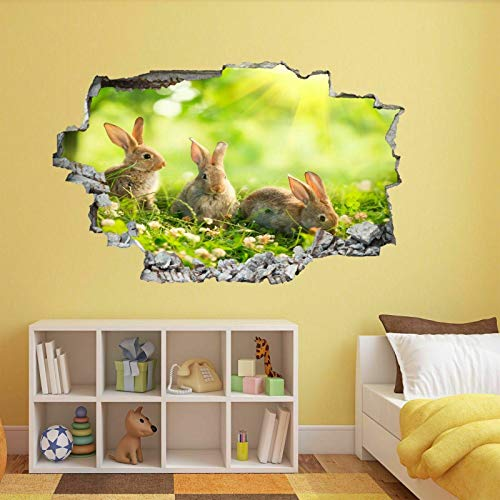 ioljk 3D wall stickersBunny Rabbits Sunbeam Wall Art Sticker Mural Decal Kids Bedroom Home Decor50x70cm