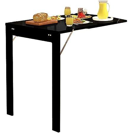 ZXYY Table Murale Pliante Table à Manger à tablettes suspendues au-Dessus de la Table Murale en Bois avec Table à Manger et Table de Cuisine 90x60x75cm (Couleur: Noir)