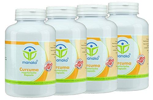manako 1200 Curcuma vegetarisch Kapseln, 4 x 300 Stück, Dose a 180 g (4 x 300 Kapseln)