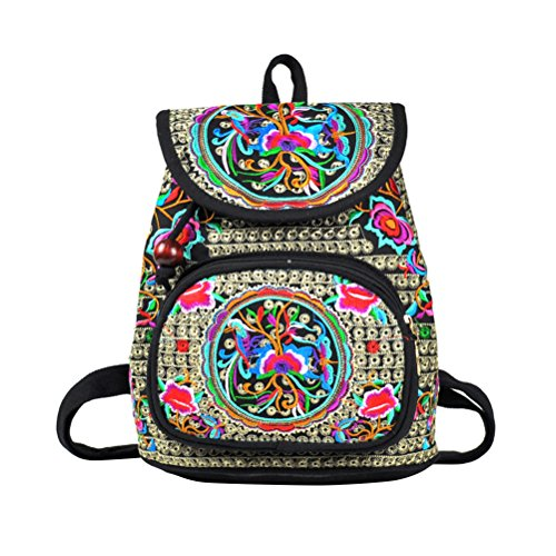 LUOEM Vintage Leinwand Rucksäcke Bohemian Rucksack Daypack für Damen Frauen