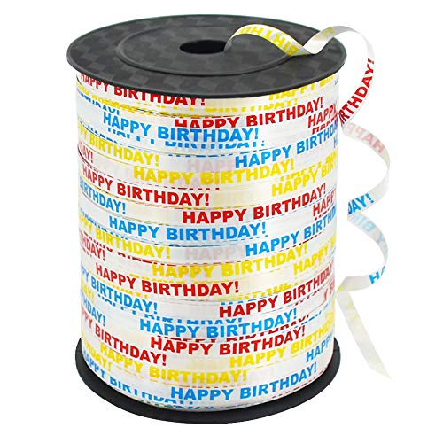 500 Yards Happy Birthday Printed Crimped Curling Ribbon Balloon String Roll Gift Wrapping Ribbon for Party Festival Art Craft Decor Florist Flowers Decoration Supplies