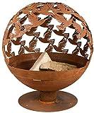 Esschert Design Feuerball mit Vogelmotiv, Ø58,8 x 56 x 64,3 cm, Carbonstahl lasergeschnitten, Feuerschale, attraktive Gartendekoration, Lagerfeuer, Ro