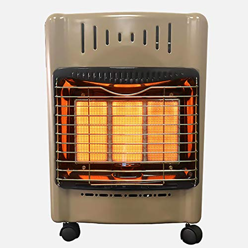 shmcc Calentador de Gas portátil, Calentador de Estufa Interior de Gas butano Tipo gabinete de 4200 W, radiador de Rueda, protección contra sobrecalentamiento, 3 configuraciones de calefacción