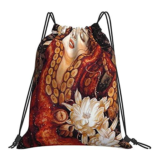 Bolsa de gimnasio Sirena y criatura de pulpo Mochila con cordón de mar profundo Bolsas deportivas Bolsa de playa para Yoga Gimnasio Natación Viajes Playa