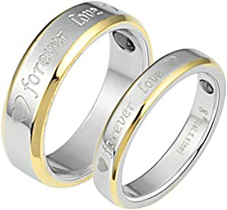 YABEME Jewelry Fashion Titanium Steel Lovers Couple Ring Women Men Forever Love Classic Heart Band
