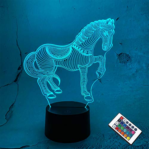 Horse Bedside Lamp 3D Illusion Night Light, Coopark 16 Colors Changing Remote Control Optical Light,Room Decor Unique Birthday Xmas Gift for Boys Girls Kids