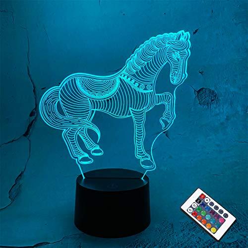 CooPark pferd Nachtlichter für Kinder Pferd Illusion 3D Nachtlicht Nachttischlampe 16 Farben ändern sich mit Fernbedienung Beste Geburtstagsgeschenke für Kinder Baby Jungen und Mädchen