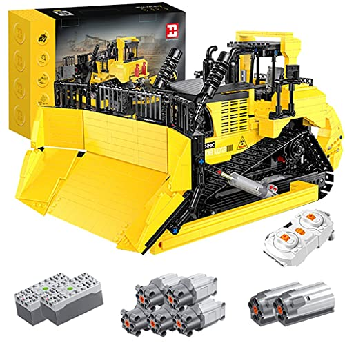 TBNOONE 2.4G App App RC Técnicas Dozers Ingeniería Bulldozer Vehículo Bloques de construcción Modelo Conjunto con Control Remoto y Motores, Conjunto de construcción,Compatible con Lego