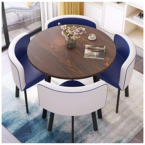 Gaohh - Mesa de café y silla de hotel, recepción de negocios, sala de reuniones, casual y simple, 1 mesa y 4 sillas de cuero mesas de oficina y sillas de restaurante, balcón, cocina hogar