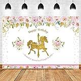 Fondo de cumpleaños de Unicornio de carrusel Fondo de fotografía de Unicornio Floral Rosa Fondo de Fiesta de cumpleaños de Unicornio A1 10x7ft / 3x2.2m