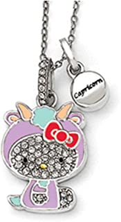 Sterling Silver Hello Kitty Crystal/Gold-tone/Enamel Capricorn Necklace