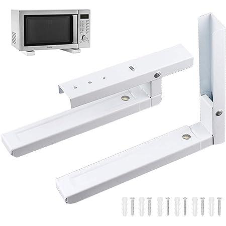 2 Pièces Support Mural Pour Micro Ondes, Supports Micro Ondes, Universel Support pour Four à Micro Ondes, Comprend 6 Vis, Utilisé pour Soutenir les Fours à Micro Ondes (Blanc)