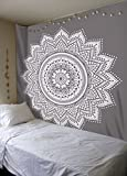 Labhanshi Gray Mandala Tapestry, Indian Hippie Wall Hanging, Bohemian Queen Wall Hanging, Bedspread Beach Tapestry 82x92 inch