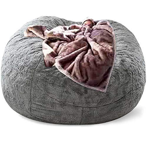 WYBFZTT-188 Sofá cama gigante de peluche de 180 cm, bolsa de frijoles, silla, asiento de habitación, puff, futón, sofá, muebles de salón para relajarse (sin relleno, sin forro) (Color : Gray)