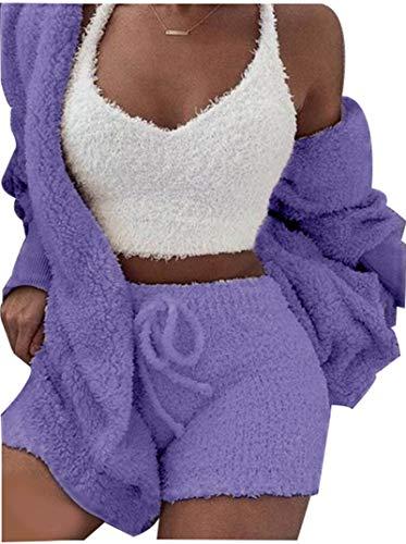 RHSML Conjuntos De Pijamas para Mujer Invierno para Mujer Pijamas Sexy De Felpa Jersey Albornoz Pijamas Cálidos Casuales Chaleco Suave Servicio A Domicilio Traje De Tres Piezas Puede Usar(XL, A2)