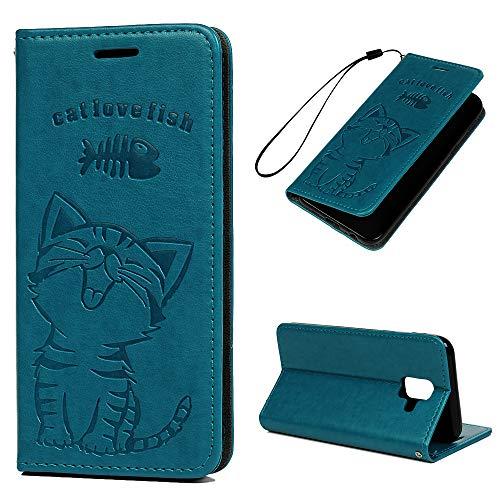 A6 Handyhülle Kompatible für Samsung Galaxy A6 2018 Hülle Case Katze Muster Leder Tasche Flipcase Cover Schutzhülle Handytasche Skin Ständer Klapphülle Schale Bumper Auto Magnet Deckel-Türkis