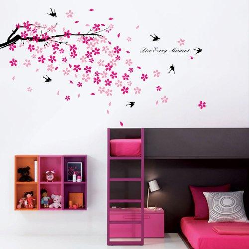 Walplus muursticker sticker kinderkamer en woonkamer bloemen vogel huisdecoratie zwart