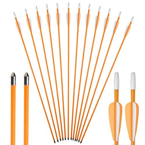 Toparchery Bogenpfeile 12er Fiberglaspfeile 7 mm Übungspfeile Pfeile für Bogenschießen Kinder 26 Zoll Pfeile für Bogenschießen