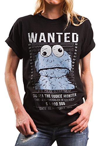 Lustiges Damen Oversize Shirt mit Aufdruck - Wanted - locker und lässig geschnitten Cookie Monster schwarz Größe L