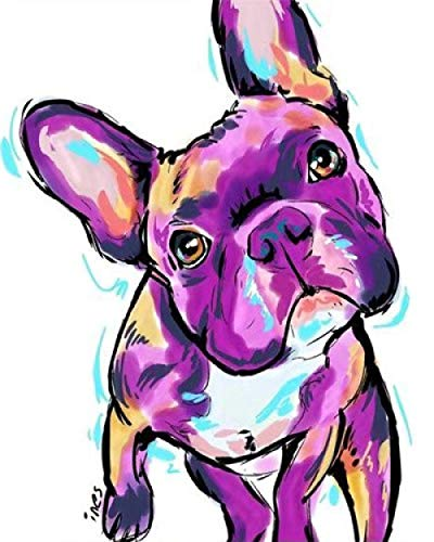 DIY 5D Diamond Painting Kits for Adults and Kids Colorful French Bulldog Crystal Rhinestone Embroidery Cross Stitch Arts Craft Home Wall Decoration(Square Diamond 11.8Inchx15.7Inch)