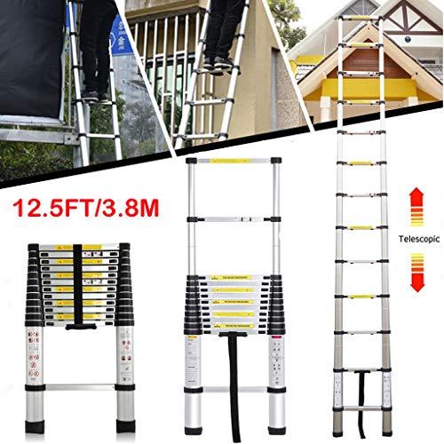 Teleskopleiter 3.8m Anlegeleiter Ausziehleiter Mehrzweckleiter Stehleiter Dachboden Loft ausziehbare Leiter aus hochwertigem Alu, Belastbar bis 150KG, 12 Stufen