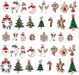 Navidad Colgantes, INTVN Christmas Pendant Charms Aleación Navidad Adornos Encantos accesorios de artesanía para DIY collar pulsera joyería de Navidad, 38 piezas