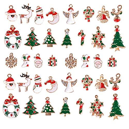 Ciondoli Natalizi, INTVN Christmas Pendant Charms Lega Mini Colorati Pendenti Bracciale Gioielli Natale Mestiere Accessori, 38 Pezzi