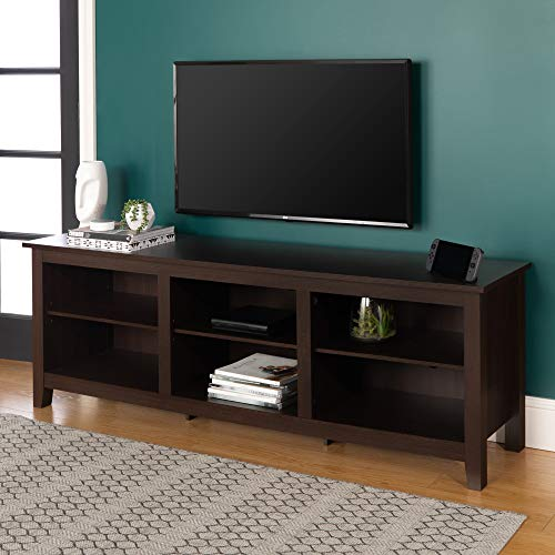 Walker Edison Wren Classic 6 Cubby TV Stand for TVs up to 80 Inches 70 Inch Espresso