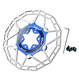 SHHMA Rotor de Freno de Disco de Bicicleta, Disco de Freno Flotante Ultraligero, Pastilla de Freno de Disco, Accesorios de Disco de Freno de Disco de 160mm para Bicicleta de montaña y Carretera,Azul