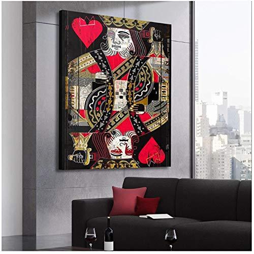 un known Cuadros Decoracion Salon Vintage Poker Card King Poster Lienzo Pintura Mural Impresiones Imagen para decoración del hogar 19.7x27.6in (50x70cm) x1pcs NoFrame