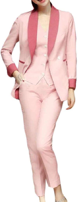 Nanquan Women color Blocked Long Sleeve Slim Lapel Blazer Jacket Suit Coat & Vest