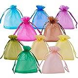 PandaHall ミックス 200枚 オーガンジー 巾着袋 ギフトバッグ アクセサリーや小物入れに 包装用 混合色 10x12cm