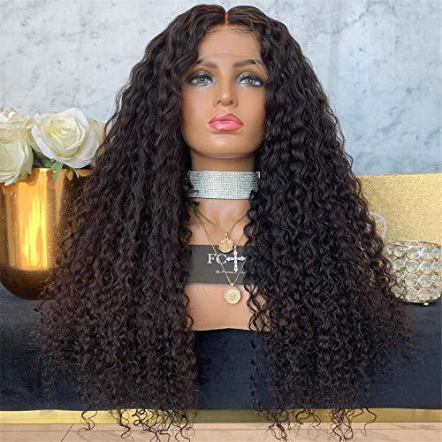 Cheveux longs et bouclés pour femmes Perruque en fibres chimiques devant le couvre-chef dentelle européenne et américaine chaude noire à petit volume pour dames longs cheveux bouclés-14 pouces