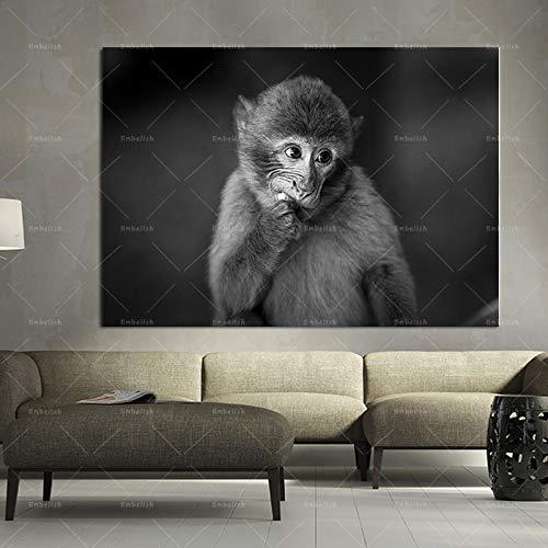 KWzEQ Imprimir en Lienzo Divertido Mono de plátano con Auriculares, decoración de Pared para Sala de Estar, Imagen de Arte, pósters para el hogar, ilustraciones60x80cmPintura sin Marco