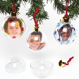Baker Ross- Bolas de fotos grandes transparentes para el árbol de Navidad, arte creativo y manualidades para niños para hacer, personalizar y decorar, Color crema, paquete de 4