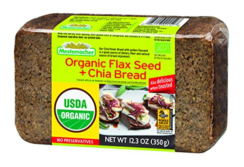 Mestemacher Bread, Organic Flaxseed & Chia, 12.3 Ounce, 9 Count