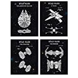 Star Wars Patent Poster Set - Cool Wall Art Decoration - Gift for Starwars Millenium Falcon, Tie Fighter, X-Wing Fans - Home Decor for Game, Family, Living or Rec Room, Boys, Teens or Men Bedroom 8x10