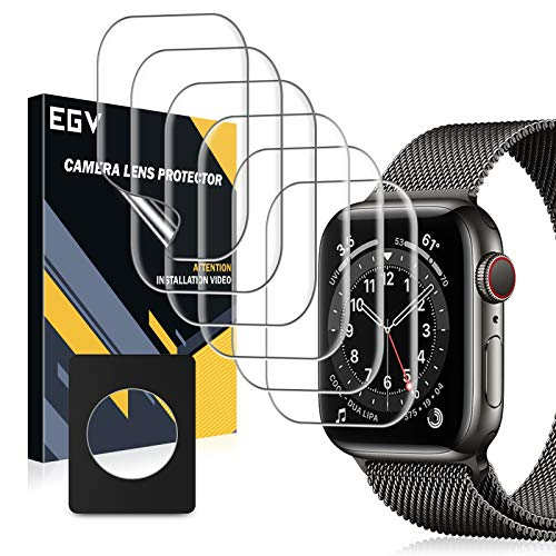 EGV 6 Stück Schutzfolie für Apple Watch SE Series 6 40mm,Klar HD Bildschirmschutzfolie, Blasenfreie, Kompatibel mit Hülle, Weich TPU Folie