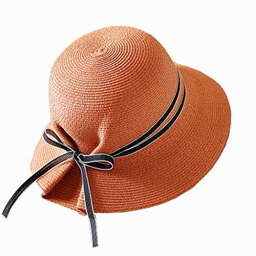 ZHAO YELONG Chapeau De Paille Femme Été Chapeau De Soleil Frais De Mode Solide Couleur Dôme Chapeau Chapeau De Plage Large Chapeau Arc Pliant Réglable (Couleur : Rusty Red)