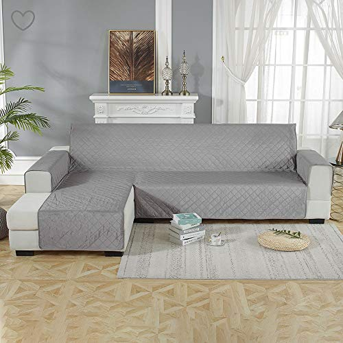 Waterproof Sofa Slipcover L-Shaped Sectional Couch Cover Corner Sofa Covers Protector Machine Washable Furniture Protector for pets,dogs,cats (200 * 270(CM), L-Grey)