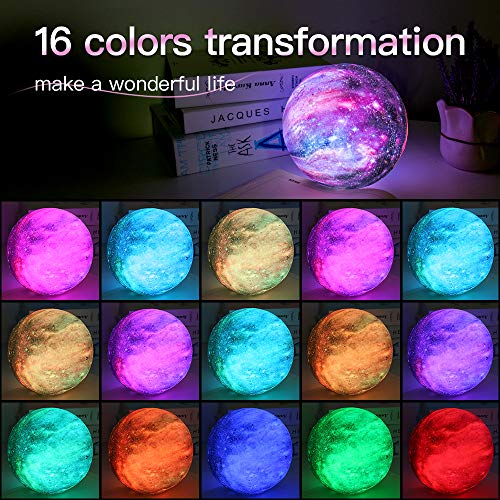 BRIGHTWORLD Moon Lamp Kids Night Light Galaxy Lamp 5.9 inch 16 Colors LED 3D Star Moon Light with Wood Stand, Remote & Touch Control USB Rechargeable Gift for Baby Girls Boys Birthday 2