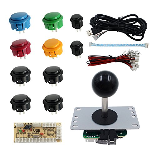 SJJX DIY Arcade Game Button and Joystick Controller Kit for Rapsberry Pi and Windows,5 Pin Joystick and 10 Push Buttons 822a Mix Black