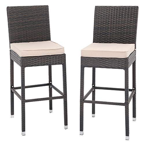 Do4U Counter Height Bar Stools, Wicker Outdoor Furniture Bar Chair, All Weather Patio Furniture with Footrest, Steel Frame for Patio, Pool, Garden, 2 PCS Set (Light Brown)