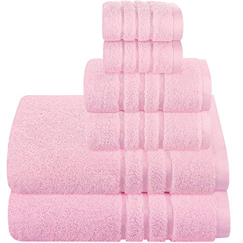 Josmon Towel Sets, Bath Towels Set 6 Pieces Towels for Bathroom, Luxury Highly Absorbent Hotel Spa Gym 2 Bath Towels 2 Hand Towels 2 Washcloths (Lemonade Pink)