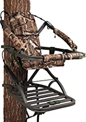 "Closed-front aluminum climbing stand with Mossy Oak Break-Up Infinity camo finish Suspended foam-padded seat with backrest Weighs 25 lbs. and holds up to 350 lbs. 18"" W x 12"" D seat size, 21""W x 30.75"" D platform size Includes Full Body Fall Arrest H..."