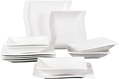 Malacasa Square Dishes White 12 Pieces Porcelain Dinner Sets Plates And Bowls Set Dinner Plates Soup Plates Salad Pasta Bowls Service For 6 Series Flora Dinnerware Sets