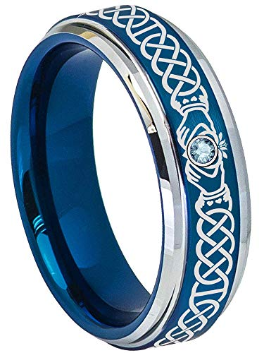 Celtic Claddagh Ring with 0.03 carat Aquamarine Gemstone Tungsten Carbide Ring - 6mm Brushed Comfort Fit 2-Tone Blue Tungsten Anniversary Ring - March Birtstone Ring