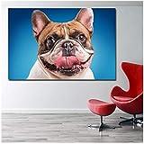 xwwnzdq Chiens Toile Peinture Fond Bleu Bulldog Museau Langue Imprimeret...